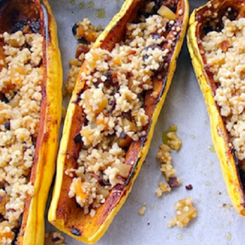 Spicy Squash Boats with Fruity Quinoa Pilaf