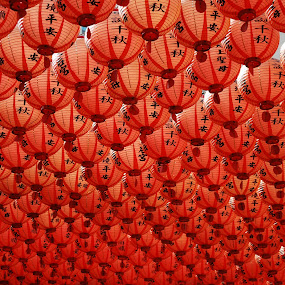 Red Lanterns by Megan Richardson - Artistic Objects Other Objects ( sky, red, colorful, color, bright, taiwan, light, lanterns, chinese )
