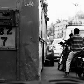 Stuck by Souradipta Maity - City,  Street & Park  Street Scenes ( life, bus, traffic, street, india )
