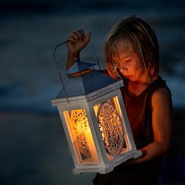 Blue Hour Lantern by Kim Laureen - Babies & Children Child Portraits ( lantern, blue hour, beach, light, boy )