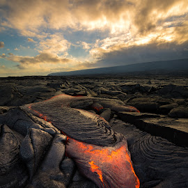 It's Coming by Jared Goodwin - Landscapes Caves & Formations ( national parks, volcanic, landscape, heat, sun, photography, volcano, photographer, cloudy, long exposure, hawaii, clouds, cloudscape, paradise, fire, landmark, national park, lava, national geographic, sunset, cloud, volcanoes, lightroom, landscapes, filters, slow shutter )