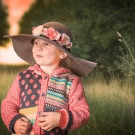 Nina  by Marek Kuzlik - Babies & Children Toddlers ( countryside, girl, off flash, smile, flowers, children photography, hat )