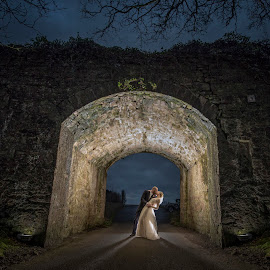 under the Bridge by Adrian O'Neill - Wedding Bride & Groom ( love, kiss, bridge, bride, groom )