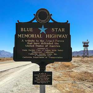 These Blue Star Memorial Highway signs seem ubiquitous and may not typically qualify as plaques. I'd argue that this particular one does. It's just outside Manzanar, the site of the World War II ...