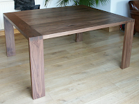 Modern Dining Table with Large Dovetailed Legs in American Black Walnut