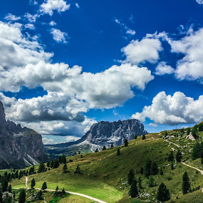 Dolomites by Mario Horvat - Instagram & Mobile iPhone ( clouds, b&w, europe, black and white, green, #garyfongdramaticlight, mountains, blue sky, dolomiti, sella ronda, italija, dolomites, italy,  )