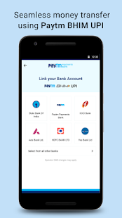 Recharge, Payments, QR Scanner, UPI, Bank Account Screenshot