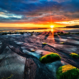 Low tide sunset. by Hallgrimur Helgason - Landscapes Beaches ( shore, iceland, sky, sunset, low tide, vibrant, beach )