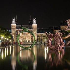 Museumplein by night by Bim Bom - City,  Street & Park  City Parks ( amsterdam rijksmuseum museumplein water reflection night, night, lights, , city, city at night, street at night, park at night, nightlife, night life, nighttime in the city )
