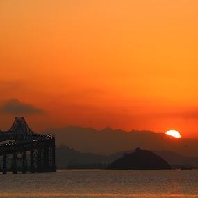 Sunrise along the California Coast by Robin Rawlings Wechsler - Landscapes Sunsets & Sunrises ( water, seascape, bridge, sunrise, landscape, sun )