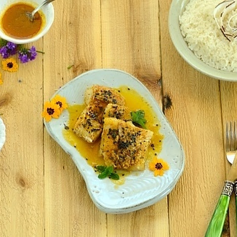 Tilapia with Passion Fruit Sauce and Toasted Sesame Seeds served with Coconut Rice