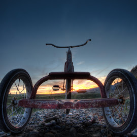 Ready to Roll by Eric Demattos - Transportation Bicycles ( adventure, roll, red, tricycle, eric demattos, sunset, childhood )
