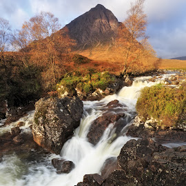 Not so lonely mountain by Neil O'Connell - Landscapes Mountains & Hills ( scotland, mountain, autumn, waterfall, falls, stob dearg, buachaille etive mor, highlands )
