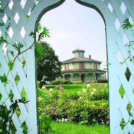 Trellis at Genesee Country Village by Rita Goebert - Buildings & Architecture Public & Historical ( mumford, trellis; garden accessories; frame; octagon house; rose garden; museum; genesee country village museum; historic buildings;, new york state, gazebo )