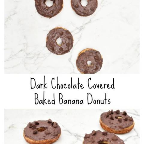 Dark Chocolate Covered Baked Banana Donuts