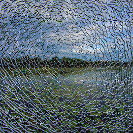 A cracking Landscape by Andy Rigby - Artistic Objects Glass ( broken, wetlands, shattered, cattana, glass, segmented )