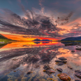 Magic sunset by Benny Høynes - Landscapes Sunsets & Sunrises ( clouds, water, calm, sky, red, sunset, summer, sea, lake, norway,  )