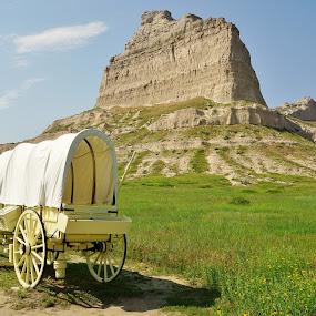 Scott's Bluff Wagon by Jim Czech - Landscapes Mountains & Hills ( mountain, cliff, wagon, covered wagon, rocks, bluff,  )