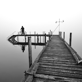 Secluded Pier at Lake Brunner by Nadly Aizat Nudri - Landscapes Waterscapes ( foggy, pier, west coast, mono, new zealand, lake brunner )