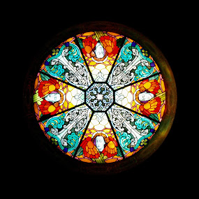 Stained glass by Jakub Juszyński - Artistic Objects Glass ( stained, roof, window, colors, glass, circle )