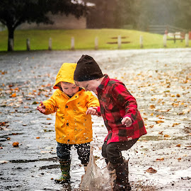 Puddles fun! by Jenny Hammer - Babies & Children Children Candids ( rain, puddles, boys, cute, cousins )