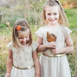Sweet girls by Jenny Hammer - Babies & Children Children Candids ( sisters, grass, fall, leaves, siblings, cute )