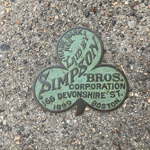 This plaque was submitted on June 7 2020. It is from a Massachusetts pavement company, Simpson Bros. Most found plaques from them are dated 1907-1911. This one is earlier, and is dated 1899. It is in ...