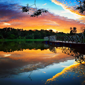 sunset at UTM Skudai by Macbrian Mun - Landscapes Waterscapes