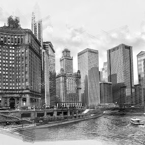 Chicago City by Cristobal Garciaferro Rubio - Digital Art Places ( sketch, buildings, chicago, river, city )