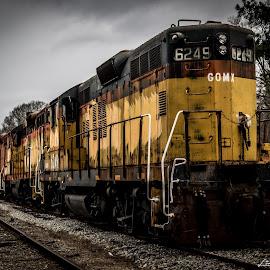 Seven Engines by Liam Douglas - Transportation Trains ( social circle, csx, county, railroad, engines, railyard, walton, ga., trains )