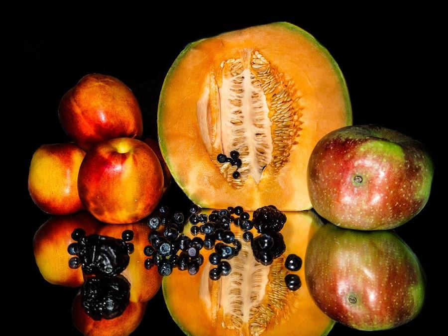 melon, peach, blueberries, aplle and prune by Jadran Korać - Food & Drink Fruits & Vegetables ( aplle and prune, melon, peach, blueberries, food, hungry, nomnom, yummy, foodie, eat, cook, family, cooking, groceries, breakfast, lunch, dinner, dessert, tasty )