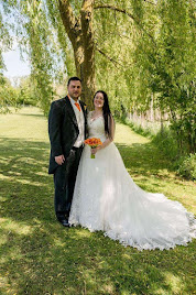 Rachael wearing wedding dress 'Maria'.