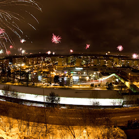 2013 is here! by James Realmwalker Johansson - Public Holidays New Year's Eve ( canon, realmwalker, eos, 550d, 8-15mm, fish-eye, fireworks, hallunda )