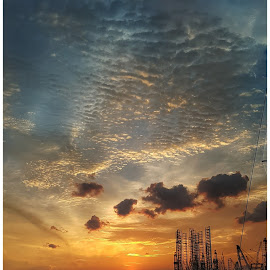 Singapor Sunset by Vijay Patwardhan - Instagram & Mobile Android ( clouds, sky, colors, sunset, sea )