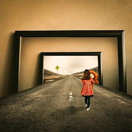 road by Simion Tiberiu Stefan - Digital Art People ( bear, child, girl, frame, white, yellow, road, long, walk, black )