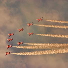 r edit 7 by Kelly Murdoch - Transportation Airplanes ( red arrows, uk, jets, smoke, ztam, hawk, flight, england, reds, sky, aircraft, raf, planes )