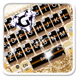 Gold Shining Diamond Keyboard Theme