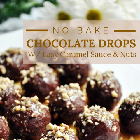 No Bake Chocolate Drops With Easy Caramel Sauce