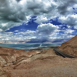 Going down by Isaac Gershon - Landscapes Travel ( natural light, dreamy, mountain, waterscape, colorful, beauty, colorfull, road, landscape, photography, epic, nature, emotions, nature photography, cheerful, rocks, water, clouds, earthly, desert, peaceful, pathway, dead sea, mood, sea, tourism, beauty in nature, seascape, relaxing, environment, color, clam, cloud, meditation, inspirational )