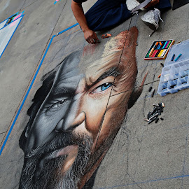 by Jeff Wrigley - City,  Street & Park  Street Scenes ( chalk art )