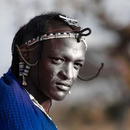 Masai Warrior #1 by Heather Allen - People Portraits of Men