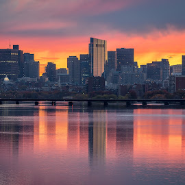 Sunrise on Boston by David Long - City,  Street & Park  Skylines ( boston, charles river, sunrise )