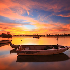 Borneo Fisherman Boat by Lawrence Chung - Transportation Boats ( colorful, tuaran, twilight, color sky, sea, reflections, boat, borneo, sabah, dawn, sky, nature, sunset, background )