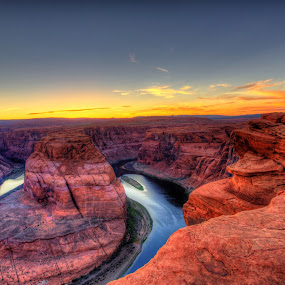 Horseshoe Bend Sunset by Dave Files - Travel Locations Landmarks ( az, desert, page, sunset, digital, river )