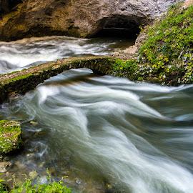 bridge by Jože Pristavec - Nature Up Close Water ( water, green, beautiful, caves, bridge, river )