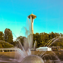 Space Needle / Fountain by John Pounder - City,  Street & Park  City Parks ( washington, park, seattle, needle, space )