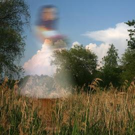 Cherchez la femme 2... by Zenonas Meškauskas - Digital Art Abstract ( mystery, femme, woman, summer, lady, landscape )