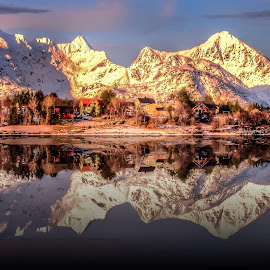 Reflection by Edel Dagfinrud - Landscapes Waterscapes ( reflection, mountains, winter, mountain, village, waterscape, snow, reflections, landscapes, landscape, lofoten, sun, norway )