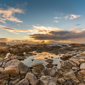 Sunset over rocks by Benny Høynes - Landscapes Sunsets & Sunrises ( water, clouds, sunset, reflections, rocks, norway )