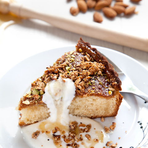 Goat's Butter Honey cake with goat's yoghurt & granola